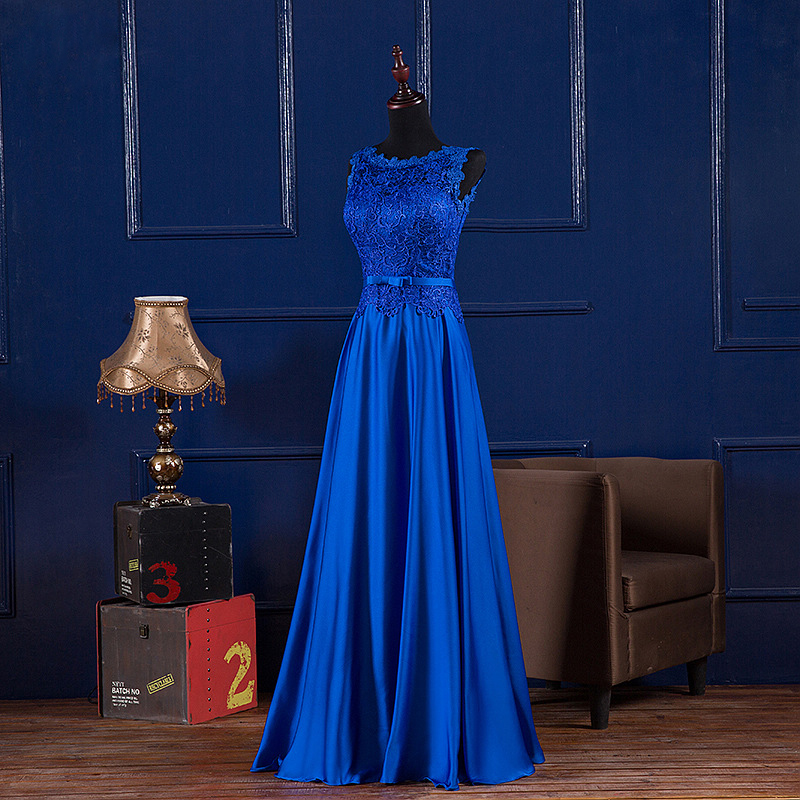 2016 New A-Line Sleeveless Royal blue Evening Dresses Red wine Floor-Length Dresses Formal Wedding Party Prom Gowns Custom Made(China (Mainland))