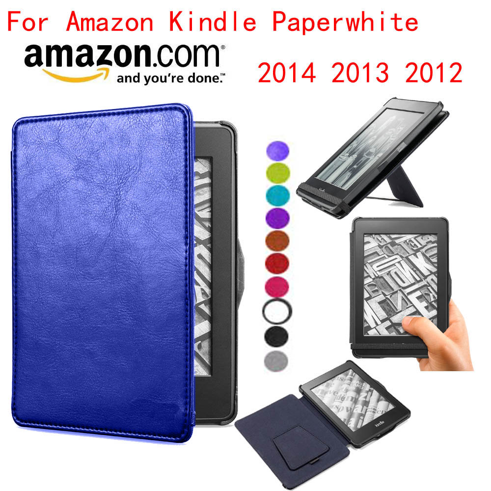 Kuesn leather case cover for amazon kindle paperwhite1 2 3 2015 2014 2012 leather cover sleeve pouch with stand and auto sleep(China (Mainland))