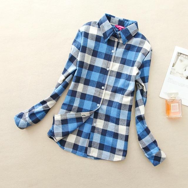 autumn and winter 2015 Женщины's Хлопок flannel Длинный-Рукавd plaid shirt female ...