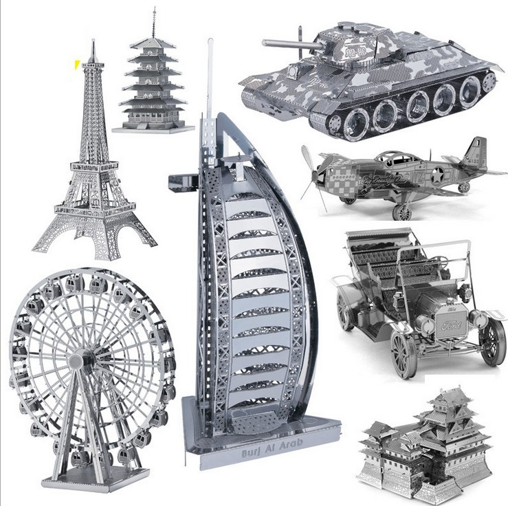Mini 3D Puzzle Metal DIY 3D Building Model car model Eiffel Tower Helicopter metal model Jigsaws educational toys(China (Mainland))