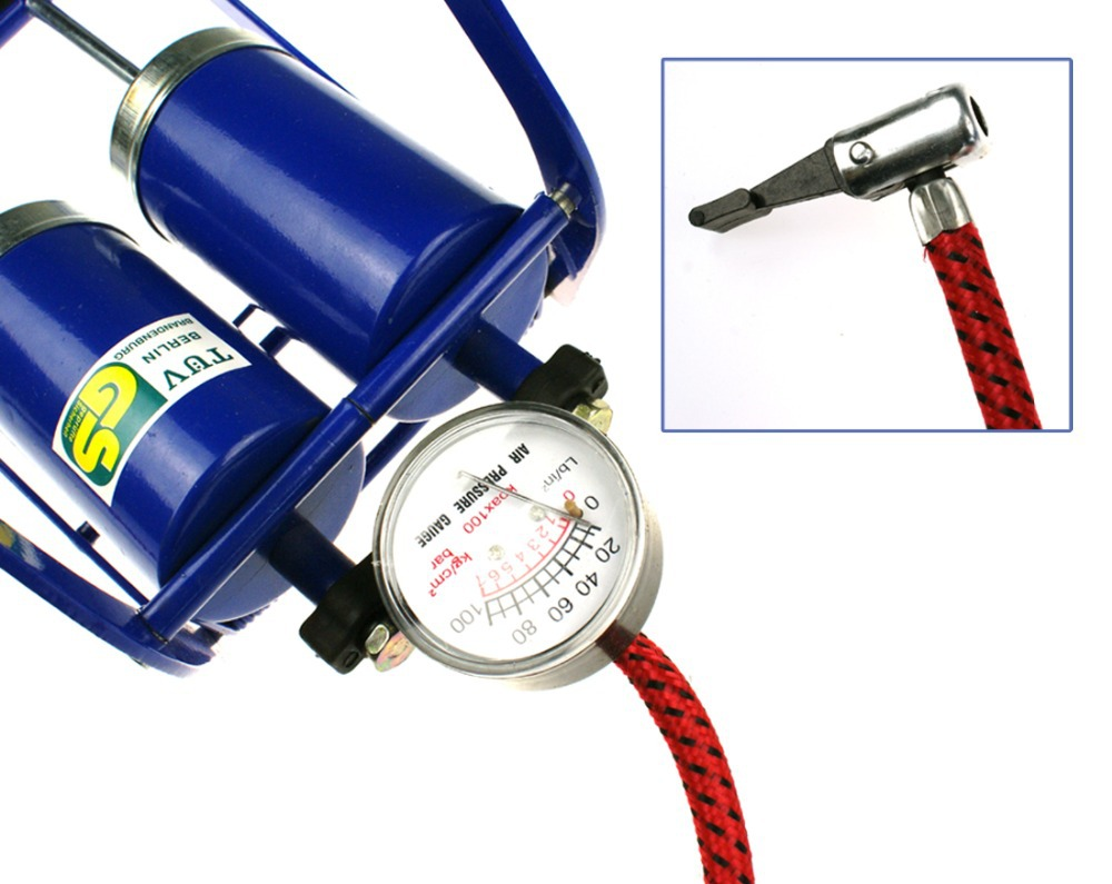 Blue Double Barrel Cylinder Foot Pump Car Van Bicycle Bike Tyre Pointer Inflatable Pump(China (Mainland))