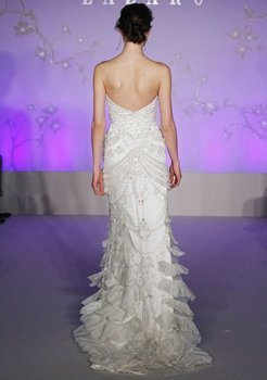 LA3059 Free shipping best price Ivory embroidered net art deco bridal dress