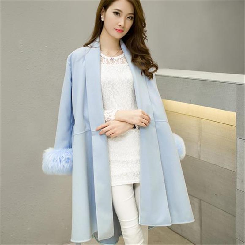 2015 New Women Autumn Winter Coat Woolen Jacket Female Long Turn-down Collar Belt Overcoat Fur Sleeve Outwear Plus Size ZS543