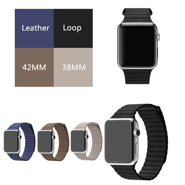 for apple watch leather loop in watchbands milanese magnetic loop leather 42mm strap Original genuine leather For iwatch band<br><br>Aliexpress