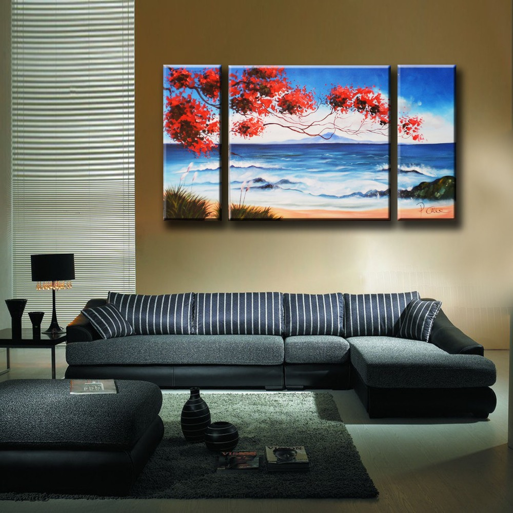 Hand painted painting Seascape for home decoration, oil paintings on canvas, Three pieces combination, wall art picture 002(China (Mainland))
