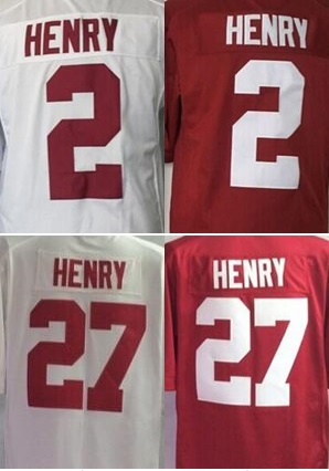 Men's #2 Derrick Henry #17 Henry Red white shirt Alabama College Jerseys Top Quality jersey Free shipping Accept Mixed orders(China (Mainland))