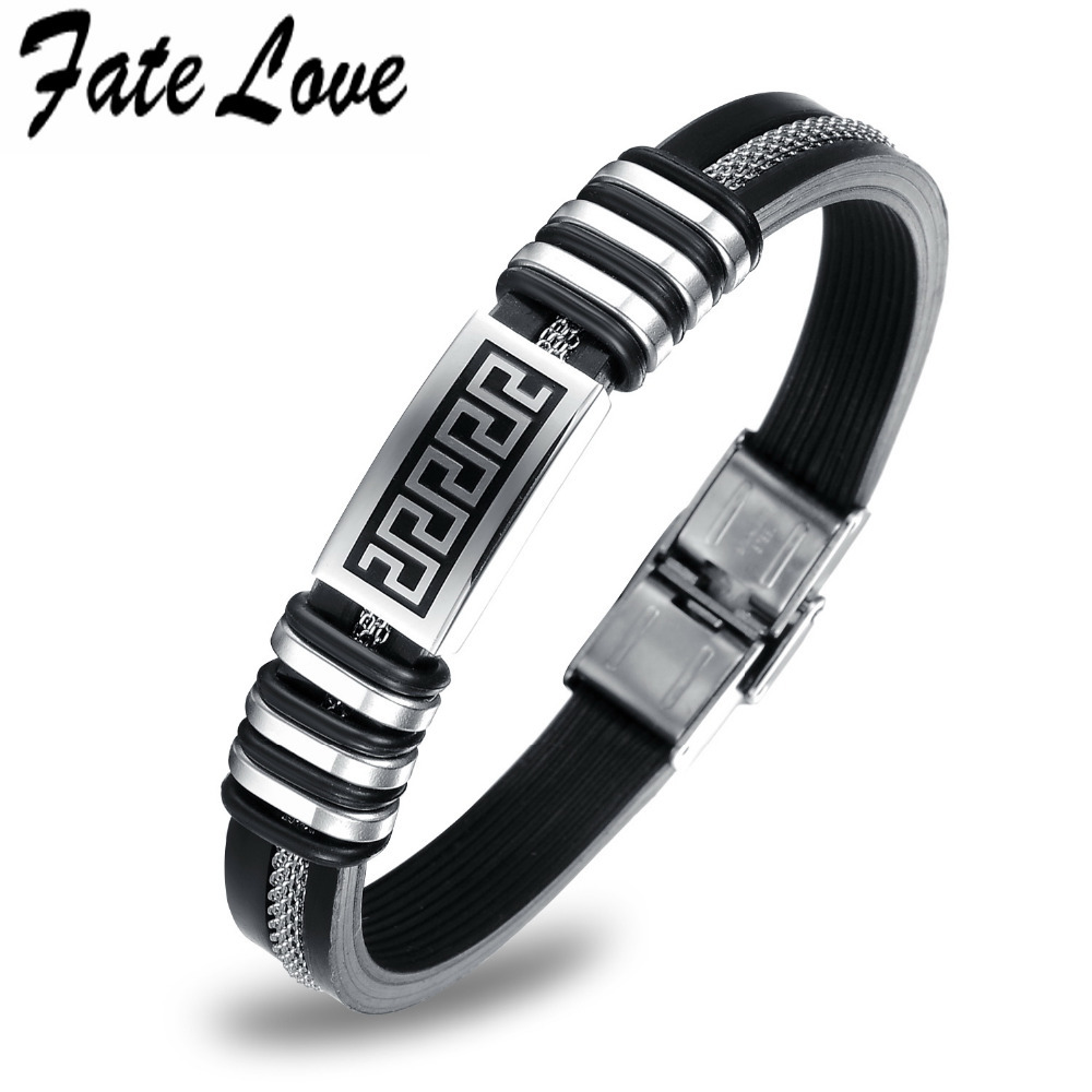 Punk 316L Stainless Steel Cross Black Genuine Silicone Men Bracelet male Quality Bangles The Great Wall Texture Bracelet(China (Mainland))