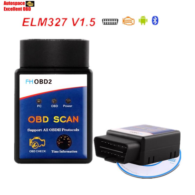 Free Shipping ELM327 FHOBD Bluetooth Super Mini ELM327 V1.5 Bluetooth ELM327 Car Diagnostic Scanner Tool For EOBD ODB2 Protocols(China (Mainland))