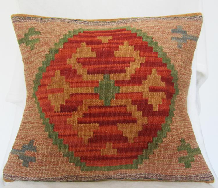 Kilim jilimu hand woven wool cushion pillow exotic ethnic India wind lumbar showroom