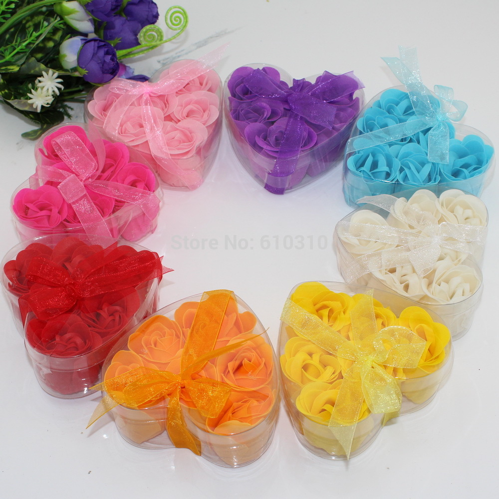 Free shipping Wholesale High quality mix colors heart-shaped rose Soap flower(6pcs/box.10boxes/lot) for romantic bath and gift(China (Mainland))
