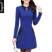 Vestidos Winter Autumn Women Dress New Fashion 2016 Turn-down Collar Long-sleeve Patchwrok Crystal Mini Work Dresses WQL3018(China (Mainland))