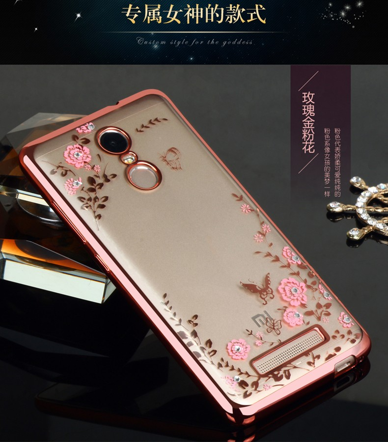 For Xiaomi Redmi Note 3 Case Luxury style Plating Gilded TPU Case silicone soft Back Cover Bag Accessory Coque For Note3 Fundas