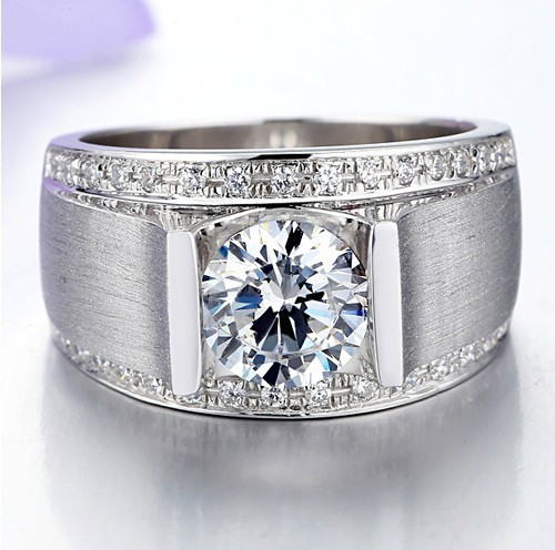1CT Engagement Ring Synthetic Diamond Handsome Men 925 Sterling Silver Jewelry 18K White Gold Plated - sara qu's store