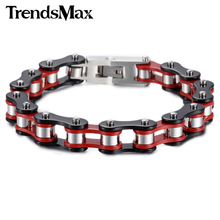 Buy Trendsmax 12mm Wide Biker Motorcycle Link Red Yellow Black Silver Color 316L Stainless Steel Bracelet Mens Chain Wholesale HBM58 for $11.91 in AliExpress store