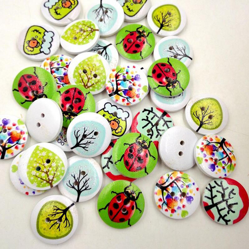 Hot 50pcs 2 Holes Mixed Craft DIY Colorful Rural System Wooden Cat Buttons Printing Buttons 2017(China (Mainland))