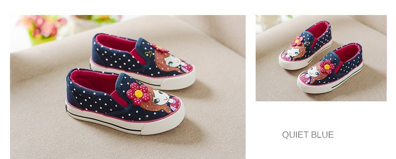 Girls Canvas Shoes Children Fashion Girl Dot Pattern Kids Sneakers Denim Girls Princess Shoes Casual Footwear for Spring Summer (17)
