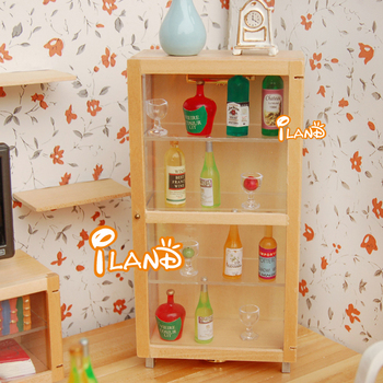 iland Dollhouse Furniture China Display Lighted Cabinet LED Lamp Show Case Wooden classic toys
