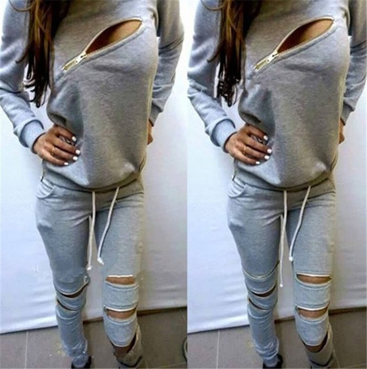 2015 Fashion Zipper Hollow Out Women Tracksuits Sport Suit O-Neck Long sleeve Women Hoodies 2 Piece Set Jogging Moletom Feminino(China (Mainland))