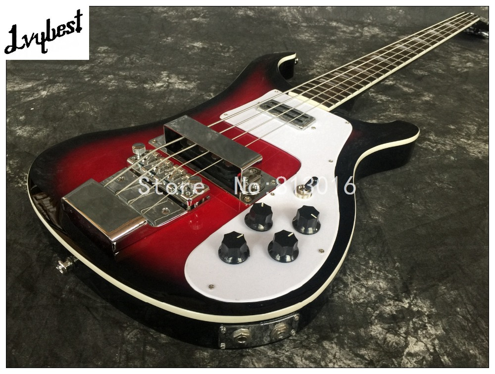 Best Electric guitar lvybest black burst,red center,Rick BASS guitar,rosewood fingerboard, chrome parts, high grade!(China (Mainland))
