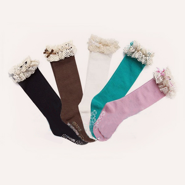 3 8Y Kids Baby Girls Socks High Knee Lace Socks Cotton