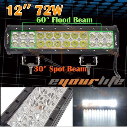 Eyourlife OSRAM led light bar 72W light bar 12 inch LED Work Light Bar Spot Flood Combo BOAT For SUV offroad light(China (Mainland))