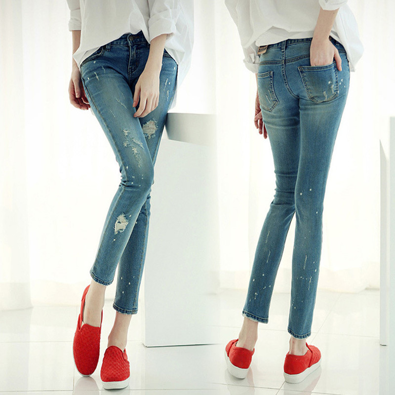New arrival Juniors Light Wash Denim Low Rise Skinny Fit Woman Jeans Leggings 2016 Spring Ripped Jeans For Women Boyfriend Jeans(China (Mainland))