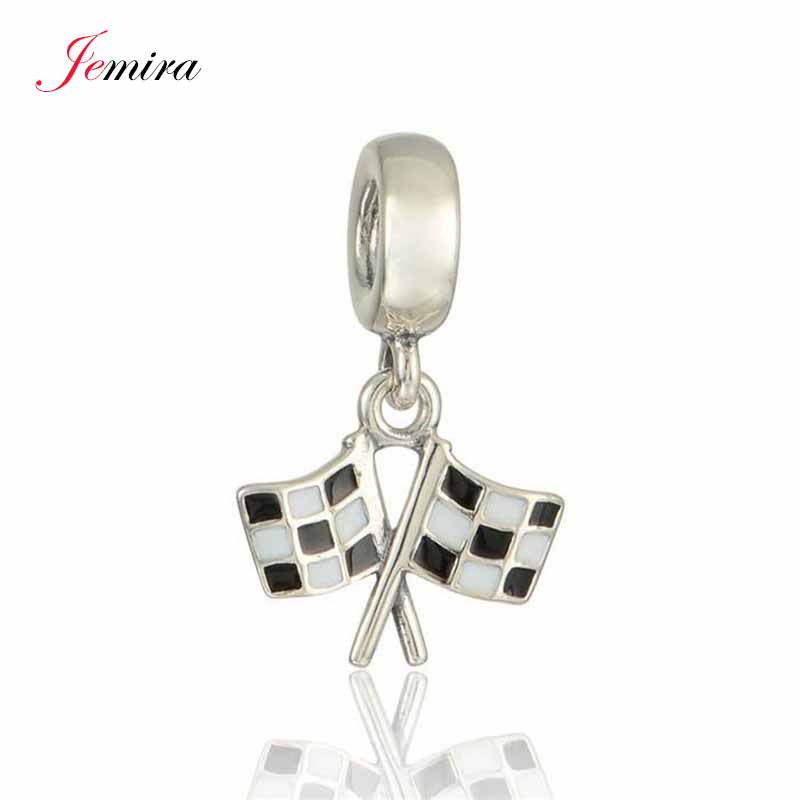 New Racing font b Chequered b font Flag Pendant Real 925 Sterling Silver Diy Jewelry Suitable
