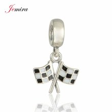 New Racing Chequered Flag Pendant Real 925 Sterling Silver Diy Jewelry Suitable for Style Charm Bracelets & Necklaces