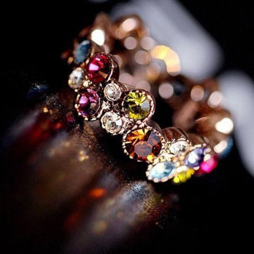 Austrian Crystal Stellux 18GP Gold Plated Flower Pattern Love Women Lady Cute Round Multicolor Ring Elegant Fashion Jewelry R064