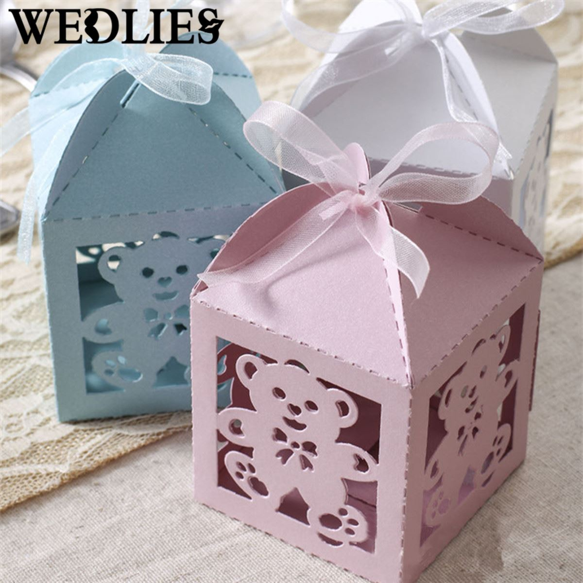 12Pcs/Set Hollow Bear Candy Box Paper Cake Boxes Baby Shower Wedding Party Favor Ribbon Gift Bag Events Party Supplies(China (Mainland))