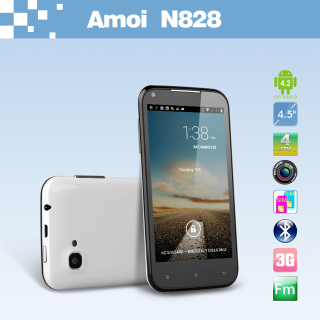 "Amoi N828 Quad Core Android 4.2 smart phone 4.5"" IPS MTK6589 1GB RAM Dual camera 8.0MP GPS Bluetooth"