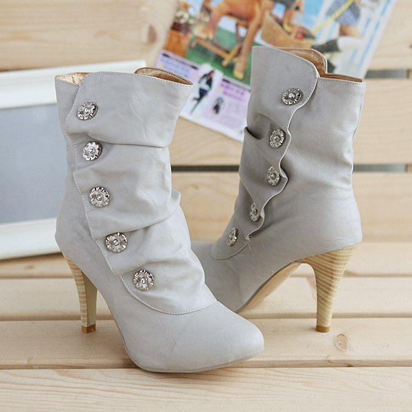 2013 short boots wood grain women's stiletto shoes rhinestone wide-mouth soft leather casual - Classic Women's store