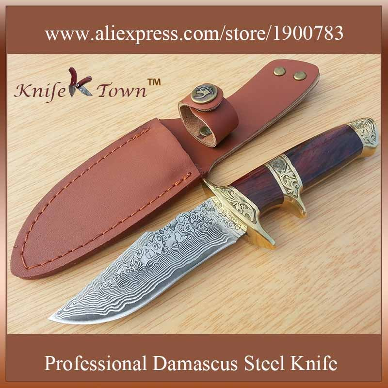 Buy DT064 damascus knife wood and brass handle high quality outdoor fixed blade hunting knife camping knife cheap