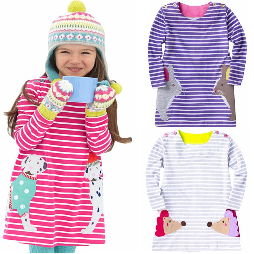 2-7 years Baby Girls dress girl long sleeve dresses kids princess t shirt children blouse cat rabbit striped t-shirt(China (Mainland))