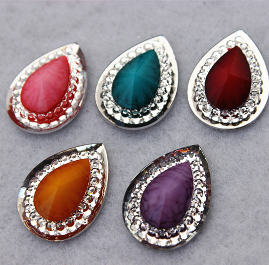 100pcs 13*18mm Drop Water Crystal Resin beads Acrylic Flat Back Rhinestones Scrapbook Craft Embellishment ZZ22(China (Mainland))