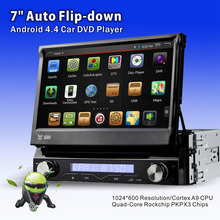 2016 Free shipping universal detachable auto Flip down panel android4.4.4 car radio DVD with GPS car stereo 1920*1080 pixels