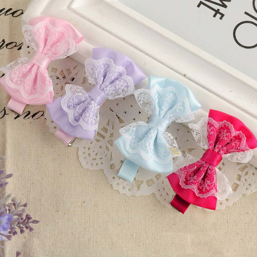 Cute Lace Bowknot Hair Clips Baby Girl Hairpin Child Hair Accessories(China (Mainland))