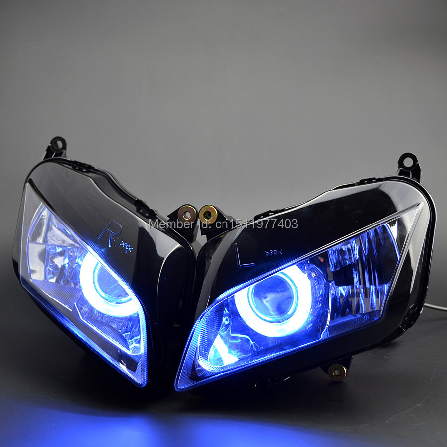 Projector Custom Headlight Assembly HID Blue Angel Eyes fit for CBR600RR CBR600 RR 2007-2012 07 08 09 10 11 12(China (Mainland))