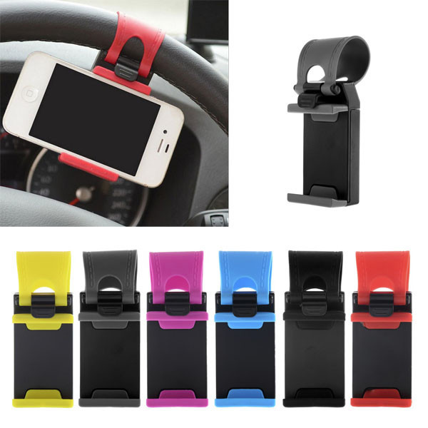 Quality NEW Rubber Band Car Steering Wheel Mount Holder For iPhone 5S 5G 5C 4S 4 iPod Free shipping(China (Mainland))