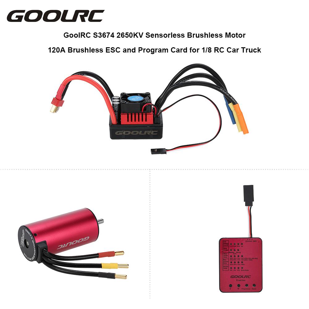 GOOLRC Original Sensorless Brushless Motor S3674 2650KV 120A Brushless Motors ESC & Program Card Combo Set for 1/8 RC Car Truck(China (Mainland))