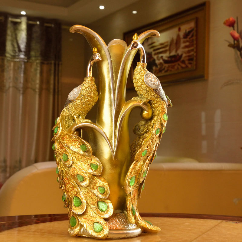 Unique Delicate Home Decor Resin Crafts Exquisite Gift Decoration Ornaments Peacock Vase