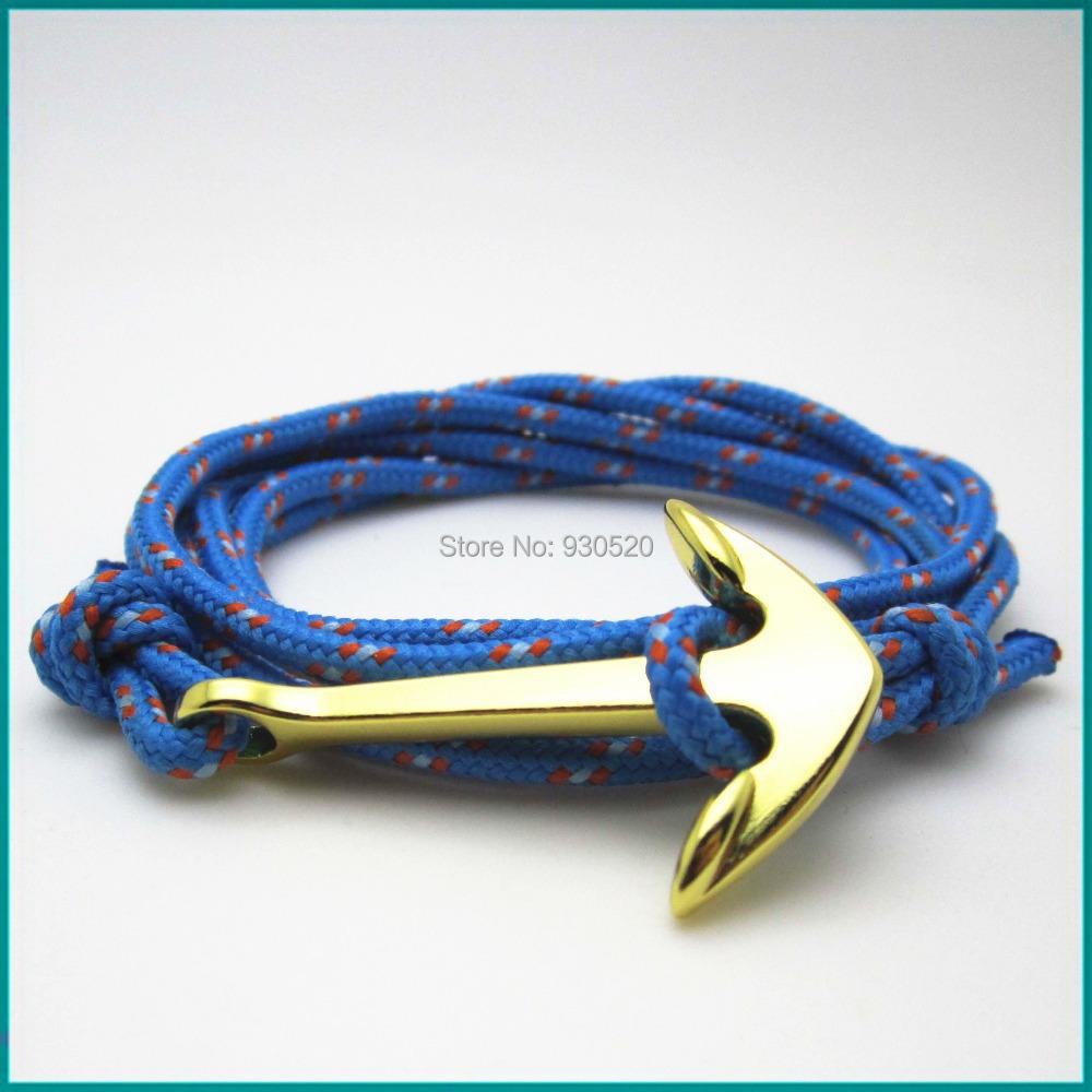 Wooden Beaded Hemp Charm Bracelet Handmade Gold Anchor Charm Bracelet