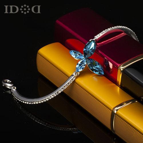 IDOD!Blue Clover butterflies, fashion young girl bracelet, Austrian crystal flower Bangles, gave gift - IDOD Jewelry store