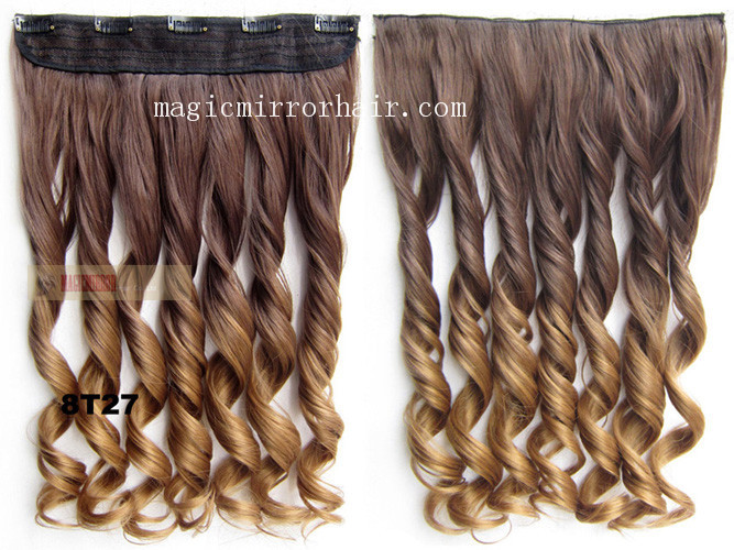 heat poof colorful shade 5 clips synthetic hair extension die dye ombre extension wavy curly 2 tone sexy extension 130g 24''(China (Mainland))