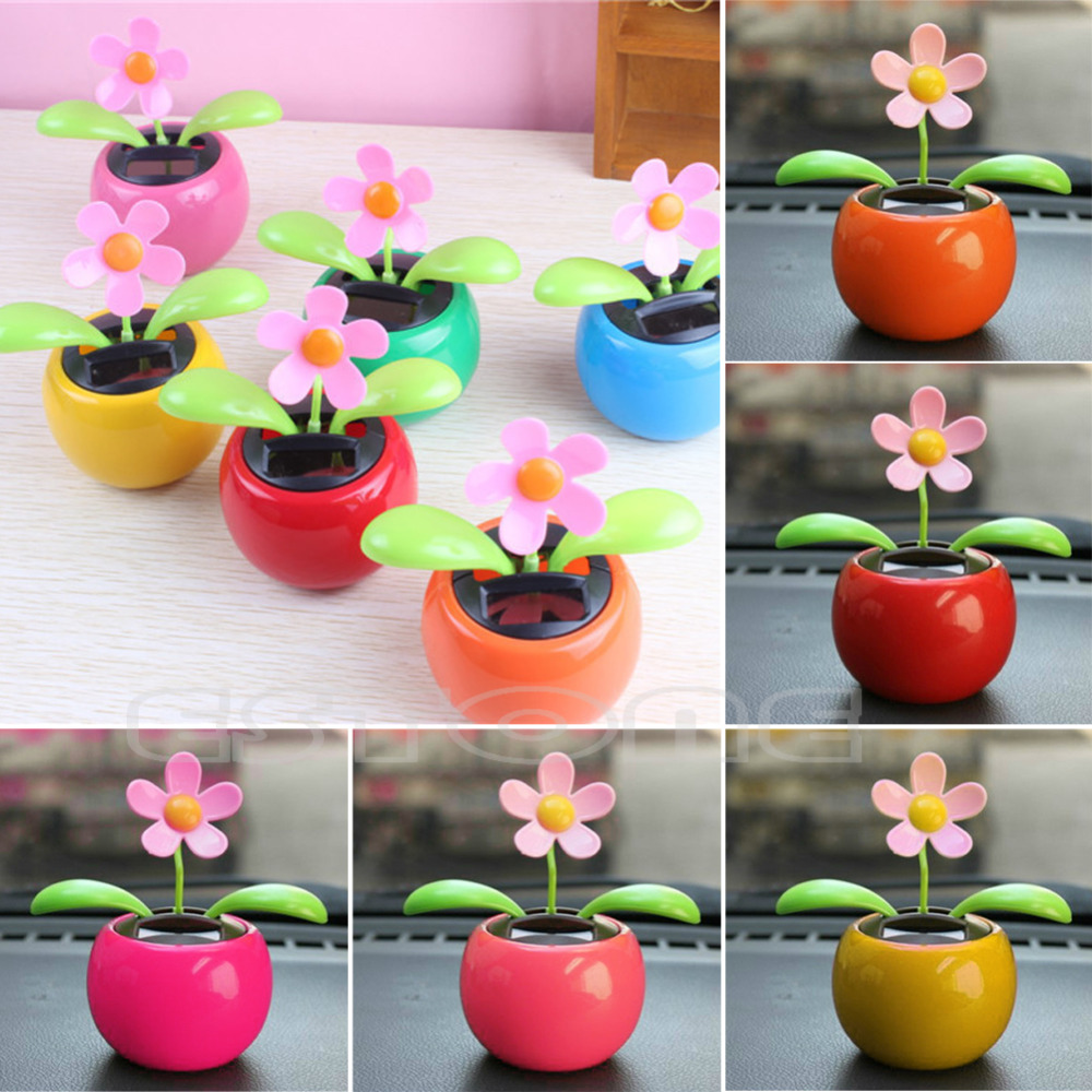 Flip Flap Solar Powered Flower Flowerpot Swing Dancing Toy For Cars Home Office(China (Mainland))