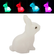 Free Shipping Hotsale Children Kid Favor Gift Toy LED Night Light Rabbit Lamp Color Changing #71201(China (Mainland))