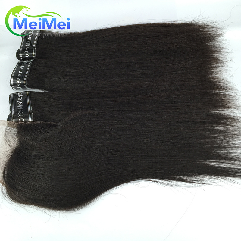 4 Pcs/lot Malaysian Virgin Hair With Closure 7A 1B Malaysian Straight Human Hair Weft and Bleached Knots Swiss Lace closure