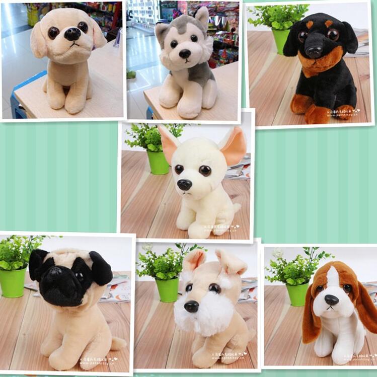 1pcs 19cm Kawaii Plush Baby Toy Stuffed Pug Dog Huskies Kids Toys Dogs Beagle Chihuahua Rottweiler Labrador toys(China (Mainland))
