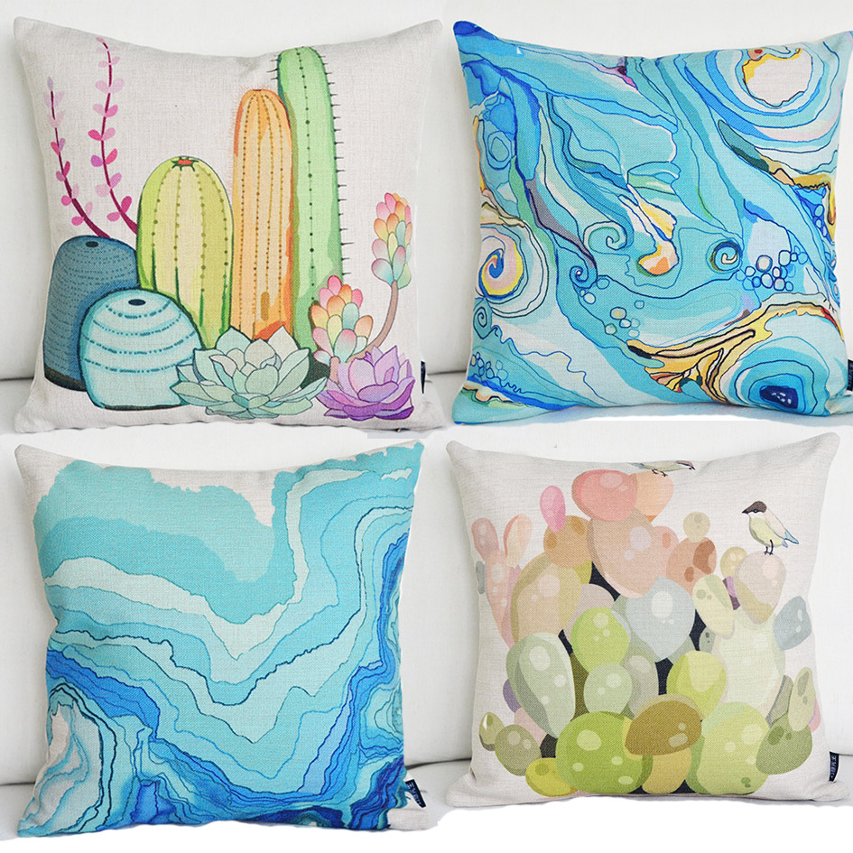 2015 New 4pcs Blue Green Abstract Water Color Style