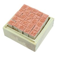 25Pcs/Set Lovely Diary Pattern Seal Stamp Wooden Box multipurpose Wood Rubber
